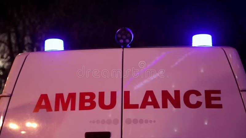 Ambulance car. Blue flashing emergency lights on ambulance car stock video footage