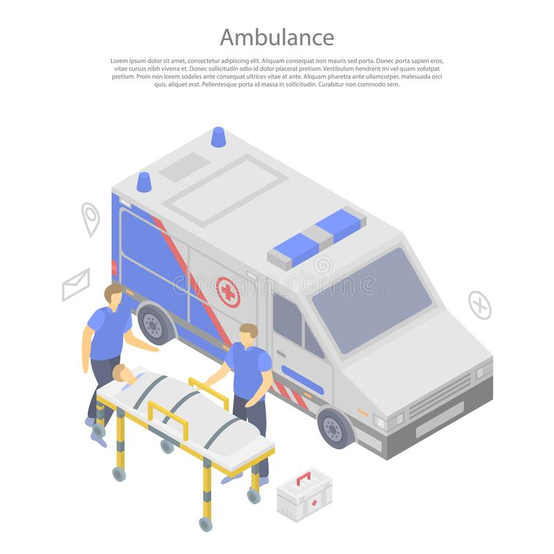 Ambulance car concept banner, isometric style royalty free illustration