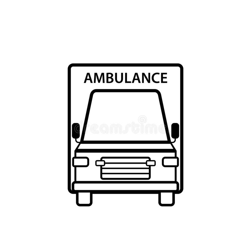 Ambulance car front view outline icon. Clipart image isolated on white background vector illustration