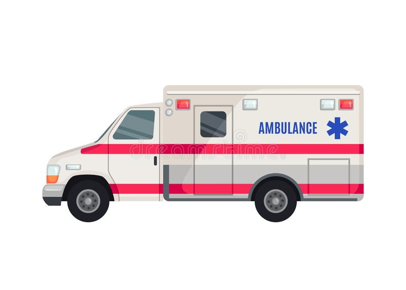 Ambulance Car icon in flat style isolated on white background. Side view. Vector illustration royalty free illustration
