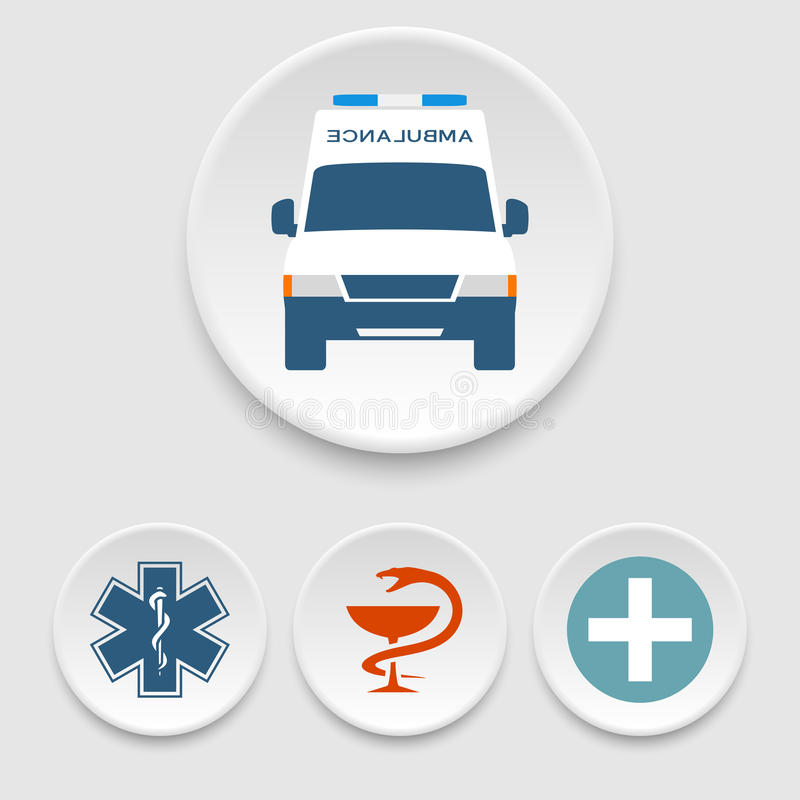 Ambulance Car And Medical Icons Stock Vector Illustration Of