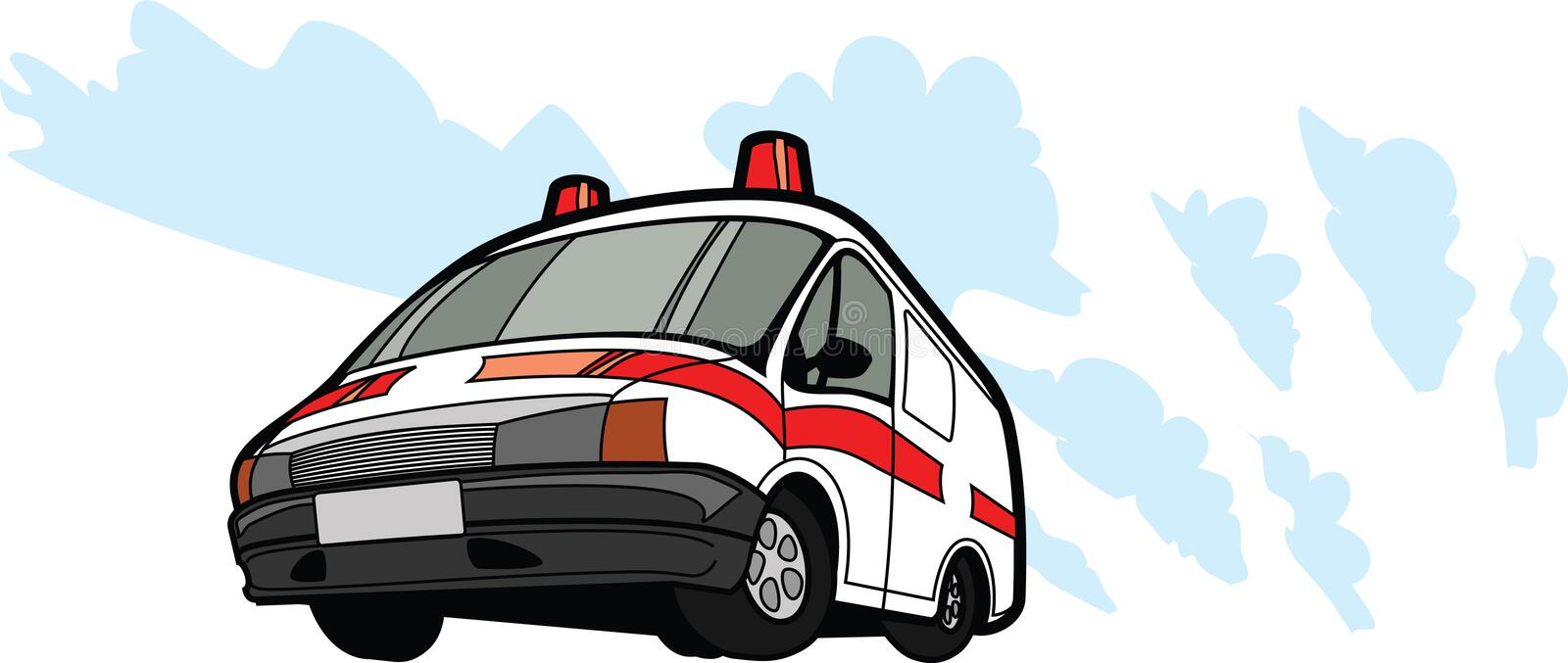Ambulance car in motion. Isolated royalty free illustration