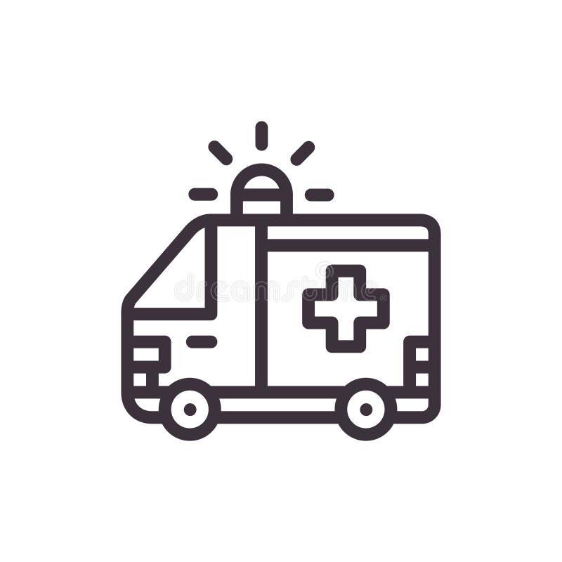 Ambulance car. Vector black icon. vector illustration