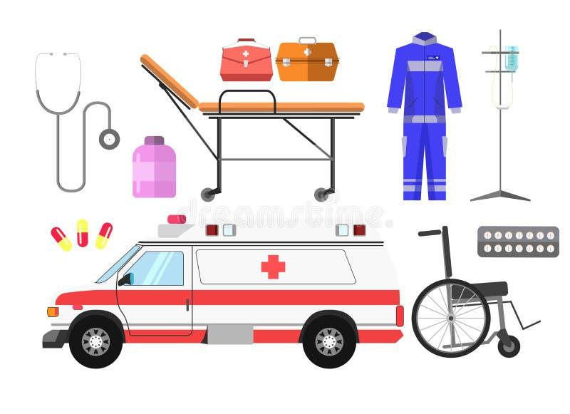 Ambulance car, wheelchair, gurney wheeled stretcher, medical kit, blue uniform stock illustration