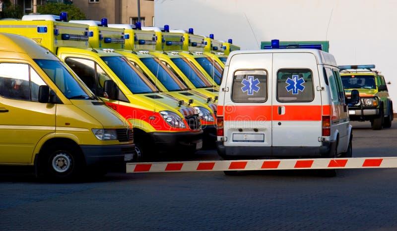 Ambulance cars stock image