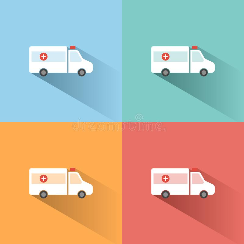 Ambulance color icon with shadow on colored backgrounds. Vector illustration vector illustration