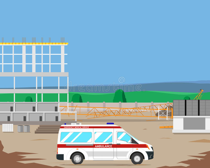 Ambulance on a construction site. The ambulance workers called a construction site, and said that the accident occurred when a crane fell. Vector illustration vector illustration