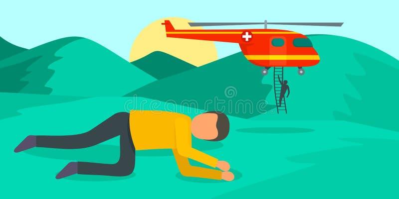 Ambulance d'hélicoptère à l'arrière-plan de montagne, style plat illustration stock