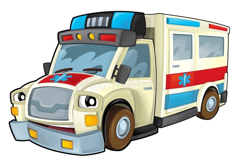 Ambulance de bande dessinée illustration de vecteur