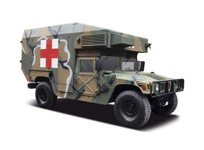 Ambulance de Hummer HMVE d'armée images libres de droits