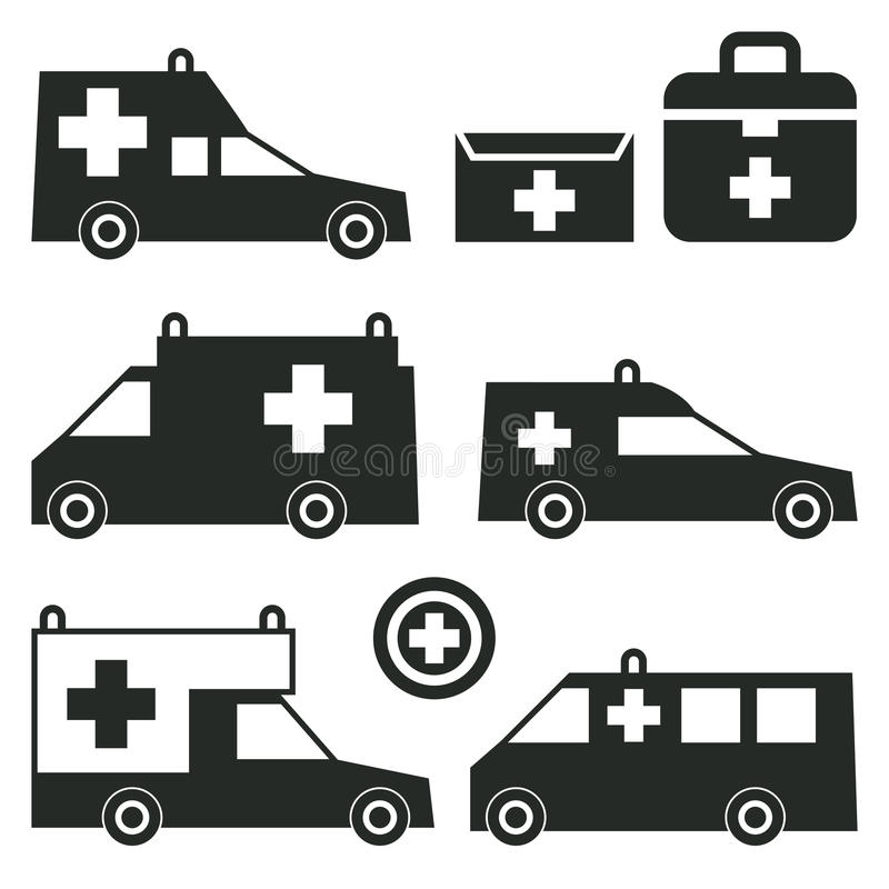 Ambulance Or Emergency Cars Signs Or Symbols Stock Vector