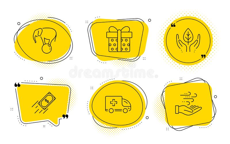 Fair trade, Fast payment and Gift box icons set. Ambulance emergency, Elephant on ball and Wind energy signs. Vector. Ambulance emergency, Elephant on ball and vector illustration