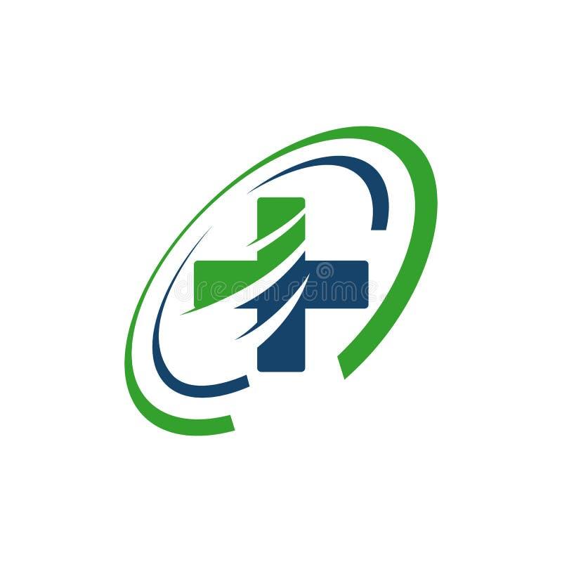 Ambulance emergency logo Medical international symbols Vector illustration. Urgency, alert, alarm, quick, plus, pharmacy, modern, wave, speed, healthcare stock illustration