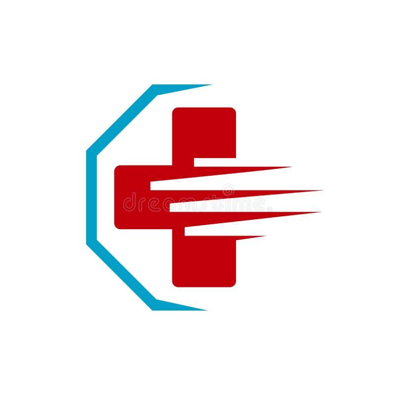 Ambulance emergency logo Medical international symbols Vector illustration. Urgency, alert, alarm, quick, plus, pharmacy, modern, wave, speed, healthcare vector illustration