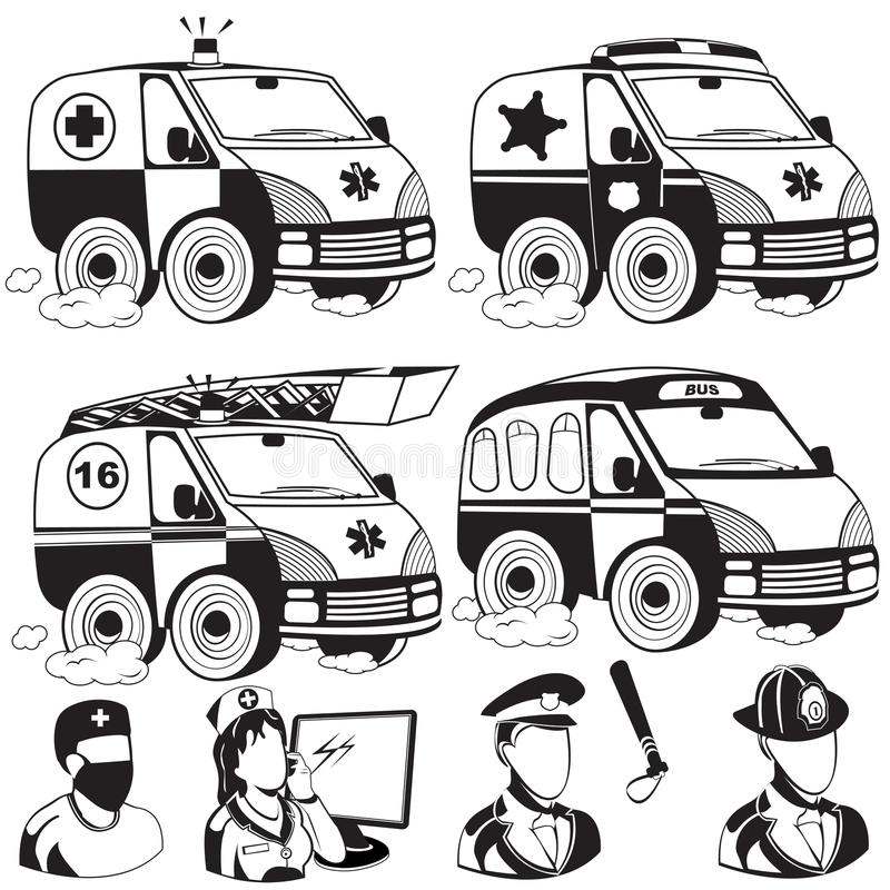Ambulance emergency police fire truck bus royalty free illustration