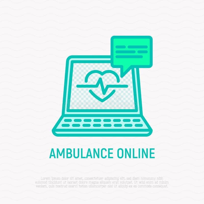 Ambulance en ligne : ordinateur portable ouvert avec le battement de coeur illustration libre de droits