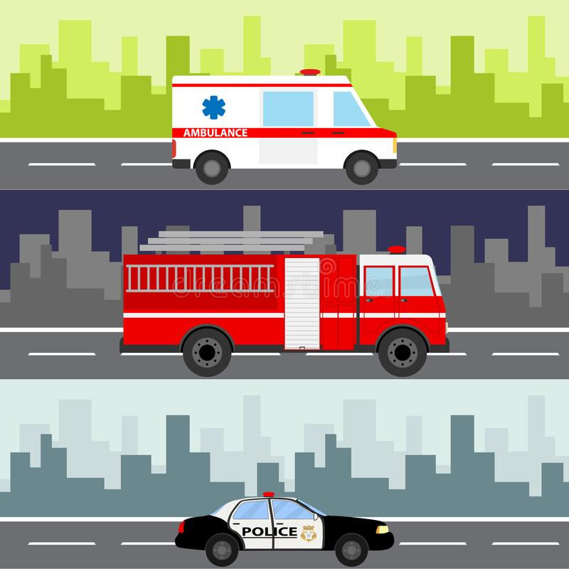 An ambulance, a fire truck, a police car on a city landscape background. Service auto vehicle, public and emergency transport, urb royalty free illustration