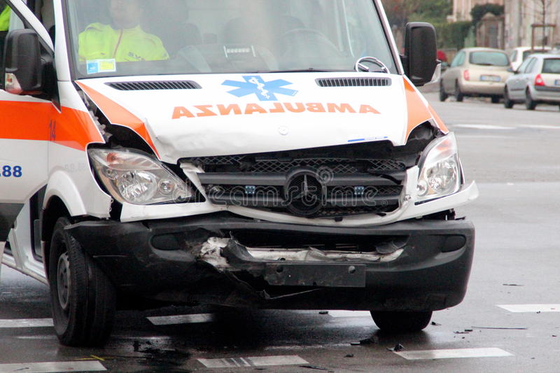 Ambulance head-on collision. Head-on collision with ambulance. liked magazines for what it regards road safety, the insurance industry, business as coachbuilders stock photos