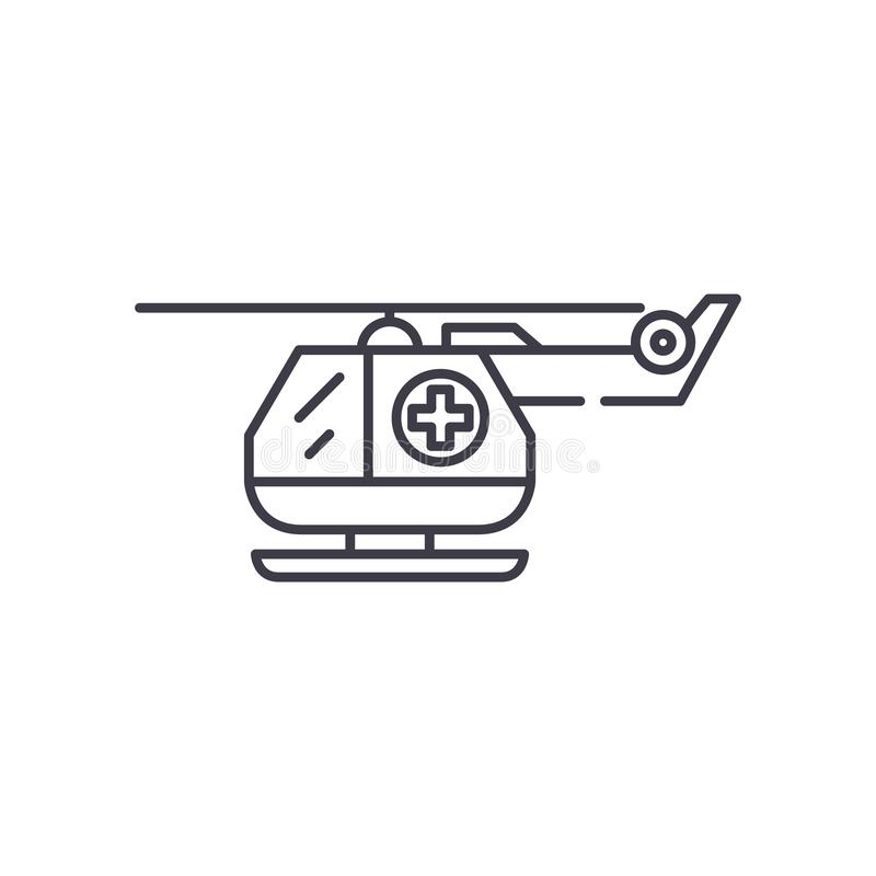 Ambulance helicopter line icon concept. Ambulance helicopter vector linear illustration, symbol, sign. Ambulance helicopter line icon concept. Ambulance royalty free illustration