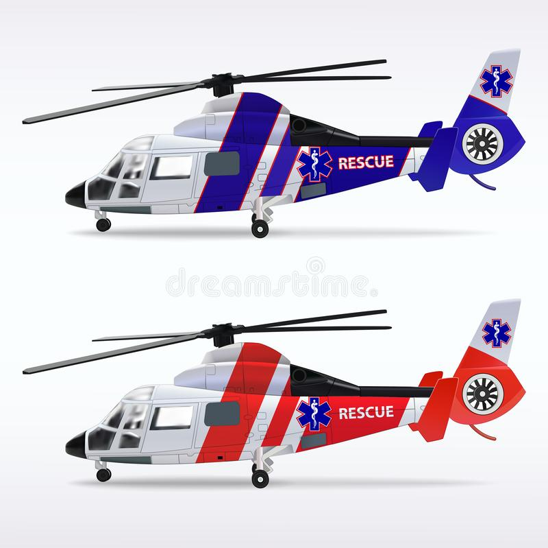 Ambulance helicopters. Medical sanitary aviation. Transport air rescue service. Red and blue fuselages. Vector. Illustrations stock illustration