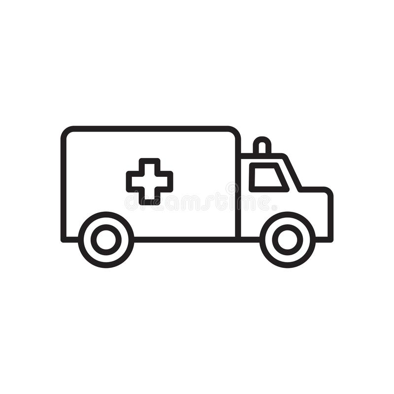 Ambulance icon vector isolated on white background, Ambulance sign , sign and symbols in thin linear outline style. Ambulance icon vector isolated on white royalty free illustration
