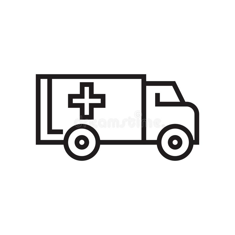 Ambulance icon vector sign and symbol isolated on white background, Ambulance logo concept. Ambulance icon vector isolated on white background for your web and vector illustration