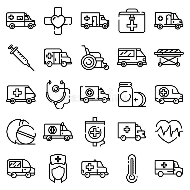 Ambulance icons set, outline style stock illustration