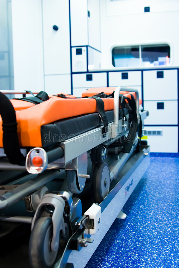 Ambulance Interior. Medical equipment in blue stock image
