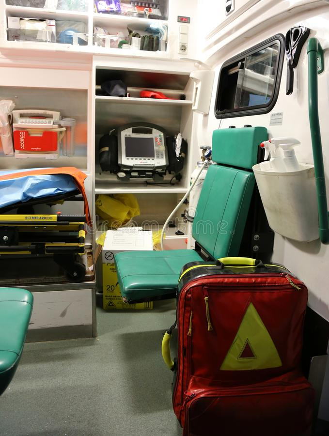 Ambulance interior details - first aid crew royalty free stock images