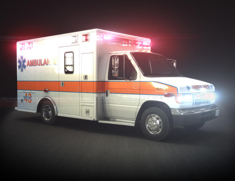 Ambulance with lights stock image