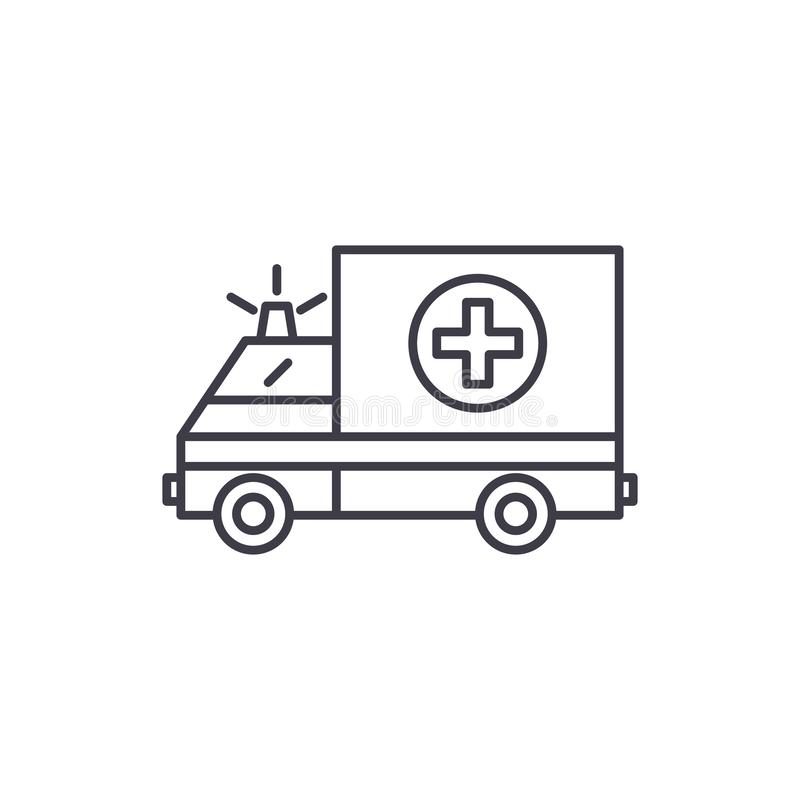 Ambulance line icon concept. Ambulance vector linear illustration, symbol, sign. Ambulance line icon concept. Ambulance vector linear illustration, sign, symbol vector illustration