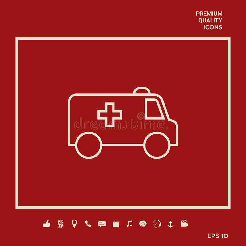 Ambulance line icon. Graphic elements for your design. Ambulance line icon. Element for your design stock illustration