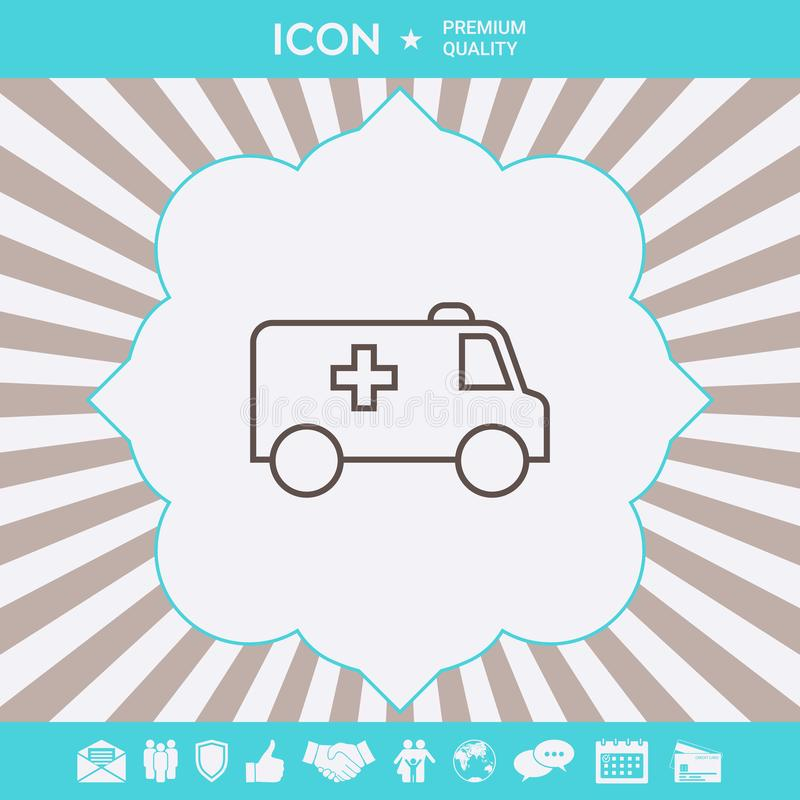 Ambulance line icon. Graphic elements for your design. Ambulance line icon. Element for your design royalty free illustration