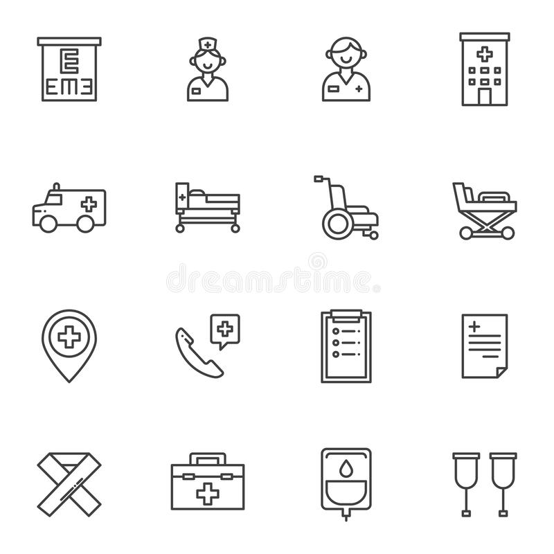 Ambulance vector icons set. Ambulance line icons set. linear style symbols collection, outline signs pack. vector graphics. Set includes icons as doctor, nurse vector illustration