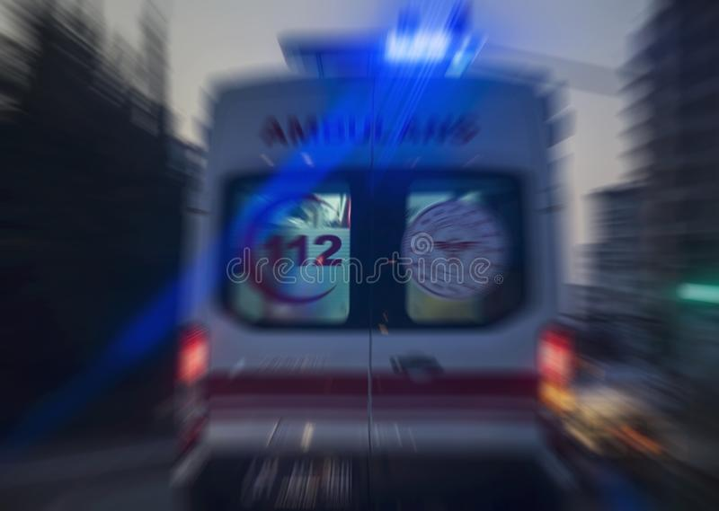 Ambulance for people on the road, zoom in zoom out photography. Outdoor royalty free stock photography