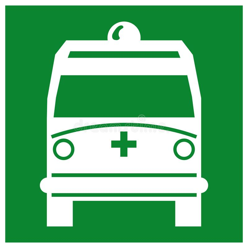 Ambulance Pick Up Point Symbol Sign,Vector Illustration, Isolate On White Background, Label ,Icon. EPS10 royalty free illustration