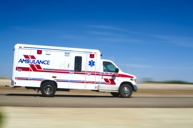 Ambulance responding to a call stock photography