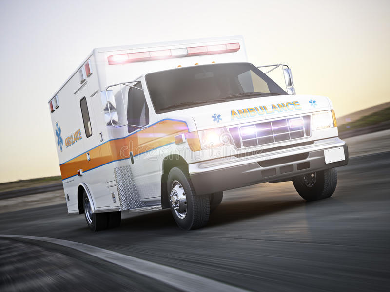 Ambulance running with lights and sirens on a street with motion blur. Photo realistic 3d model scene vector illustration