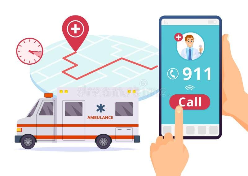 Ambulance service. Urgent 911 hospital emergency call vector concept. Illustration of emergency 911 telephone assistance royalty free illustration