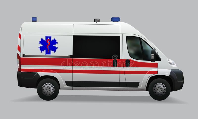 Ambulance. Special medical vehicles. Realistic image. Vector illustrations vector illustration