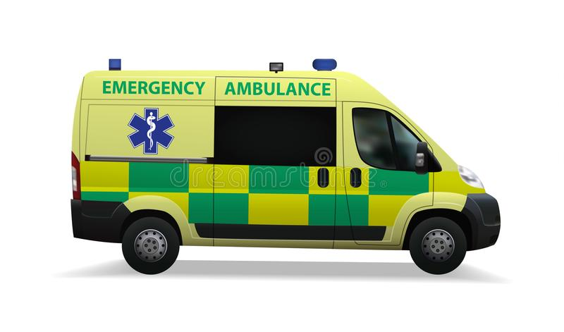 Ambulance. Special medical vehicles. Realistic image. Vector illustrations stock illustration