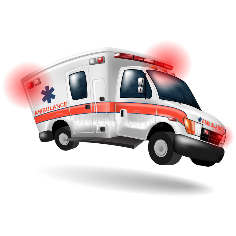 Ambulance speeding ,vector cartoon. Sign stock illustration