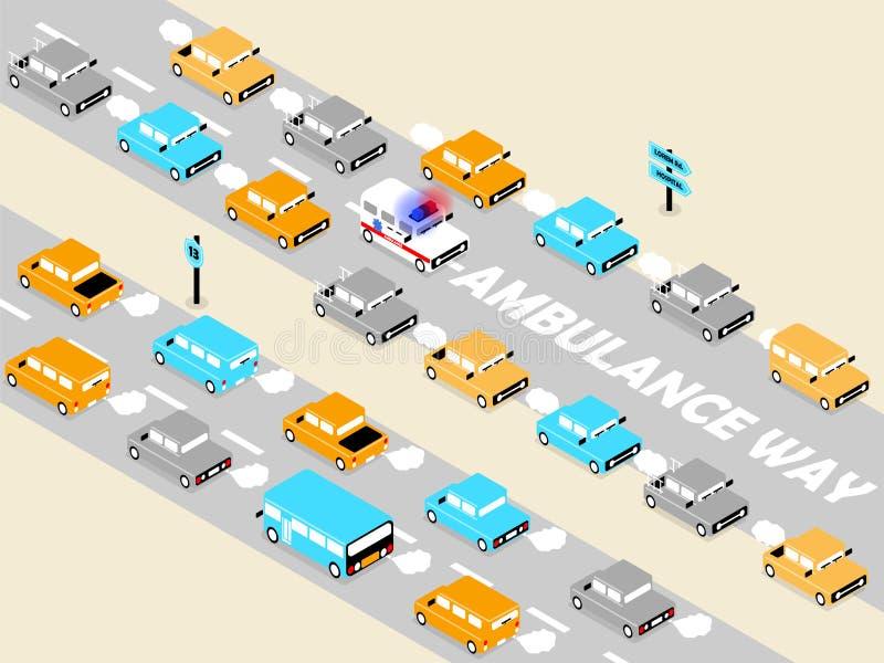 Ambulance sur le trafic illustration stock