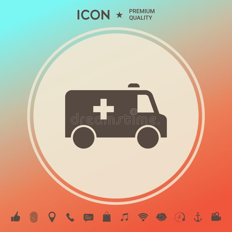 Ambulance symbol icon. Element for your design . Signs and symbols - graphic elements for your design royalty free illustration