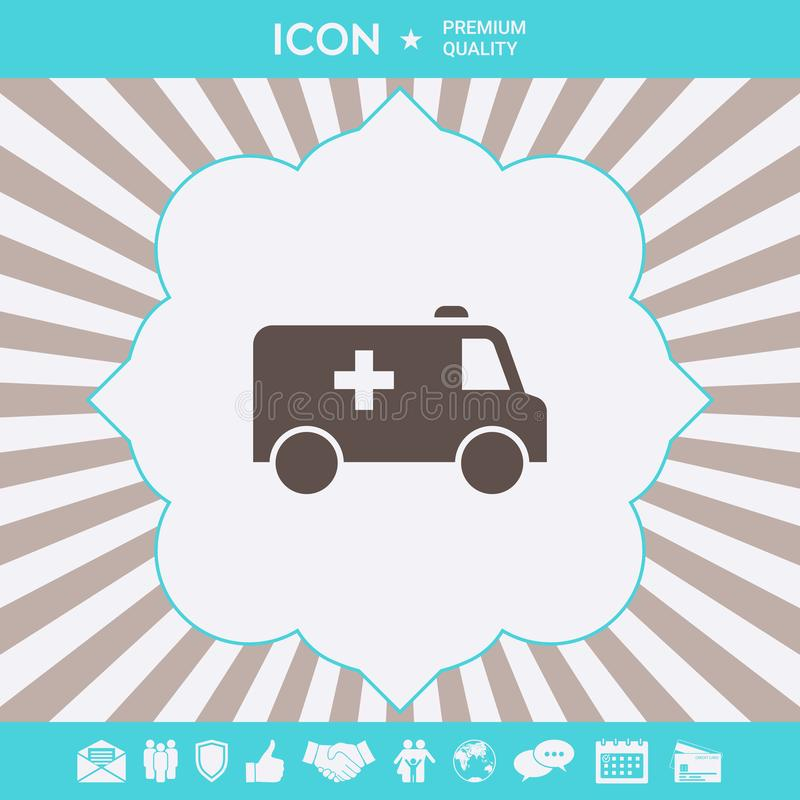 Ambulance symbol icon. Graphic elements for your design. Ambulance symbol icon. Element for your design vector illustration