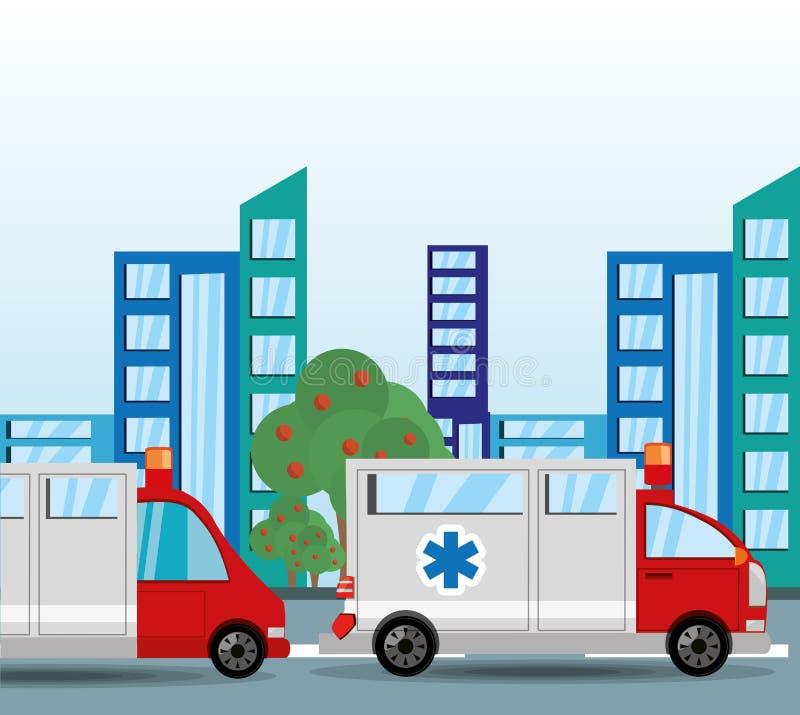 Ambulance transitant pour la ville illustration libre de droits