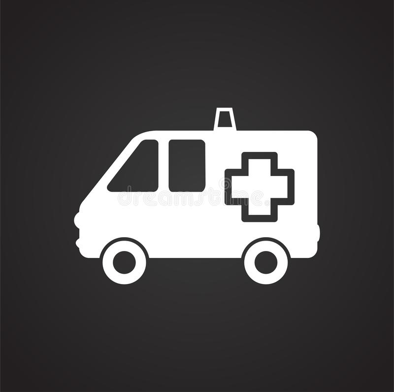 Ambulance truck on black background. Icon vector illustration