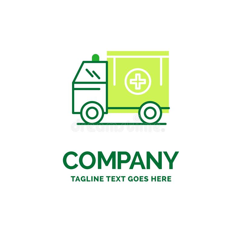 Ambulance, truck, medical, help, van Flat Business Logo template. Creative Green Brand Name Design stock illustration