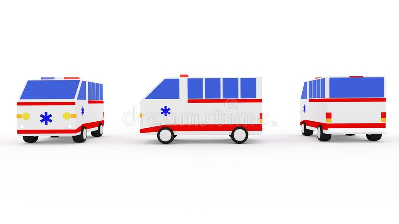 Ambulance van 3D image stock