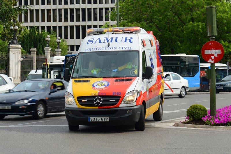 Ambulance van in Madrid, Spain stock photos